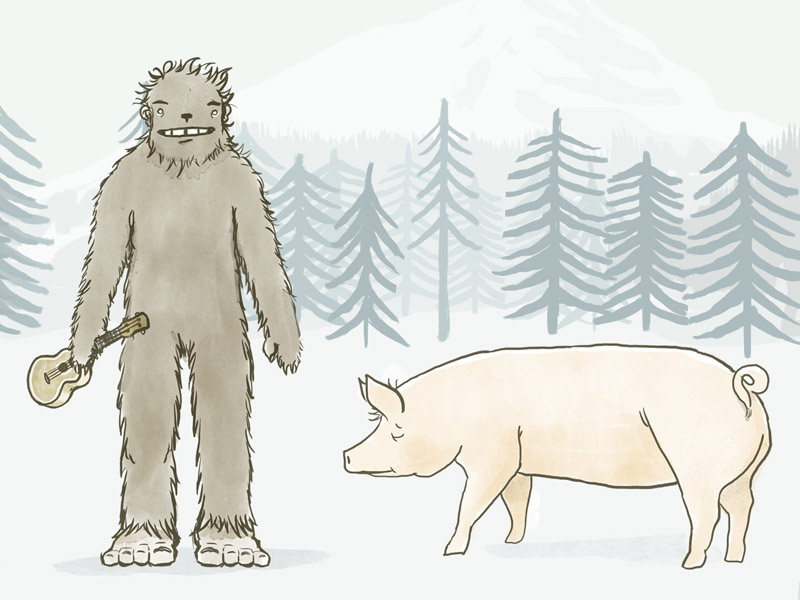 Bigfoot and friend pig